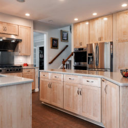 Nature Maple Kitchen with Stainless-Steel Appliances and Undermount Sink